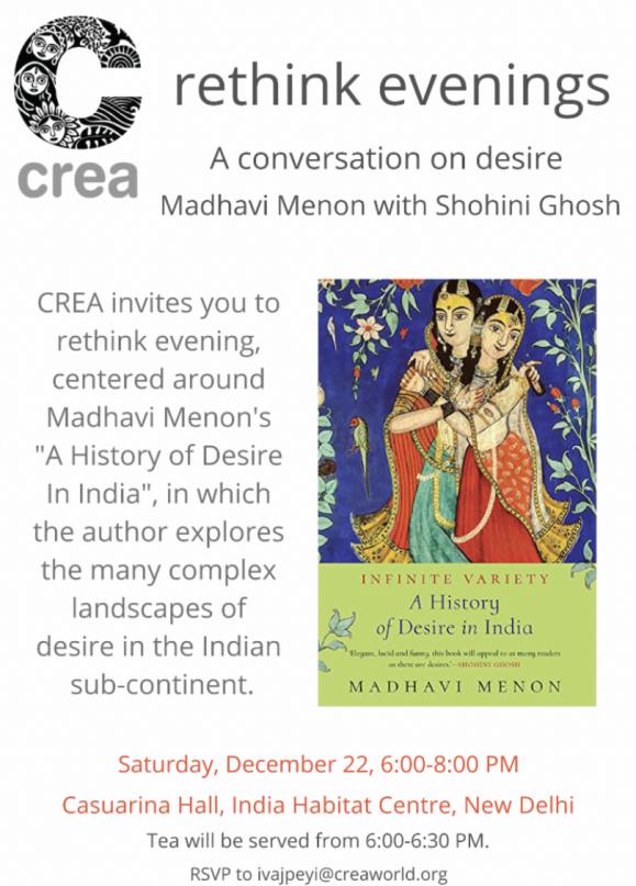 reThink Evenings: A conversation on desire Madhavi Menin with Shohinin Ghosh poster